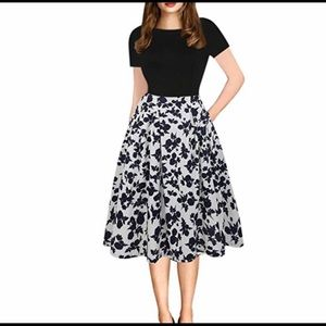 Dresses & Skirts - pin up floral tea length midi swing dress pockets